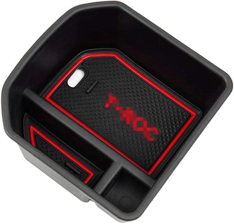 Bandeja de Almacenamiento Organizador de Consola【rojo】 RUIYA Consola Central con reposabrazos Personalizada para 2018 2019 T-ROC