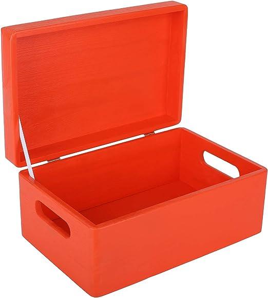 Creative Deco Roja Grande Caja de Madera para Juguetes   30 x 20 x ...