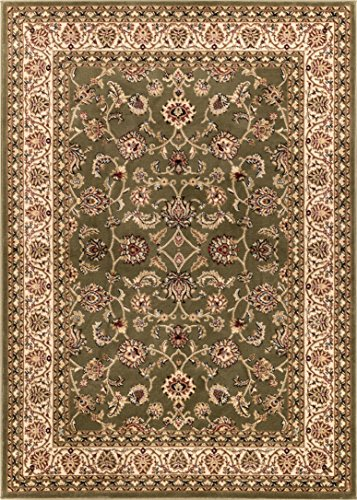 Cheap Noble Sarouk Green Persian Floral Oriental Formal Traditional Area Rug 9×13 ( 9'3″ x 12'6″ ) Easy to Clean Stain Fade Resistant Shed Free Modern Contemporary Transitional Soft Living Dining Room Rug