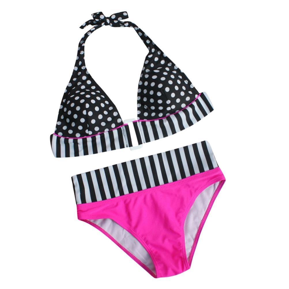 PAOLIAN Trajes de baño de dos piezas Bikini sexy Mujer Verano 2018 Ropa de Playa Bañador Impreso punto y rayas Cuello colgante Tankinis push up Correa del ...