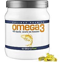 Omega 3 capsulas de 1000mg - 400 cápsulas de Omega 3 - Aceite de Pescado - Acidos Grasos Omega 3 EPA DHA - Fabricado en Alemana de GloryFeel