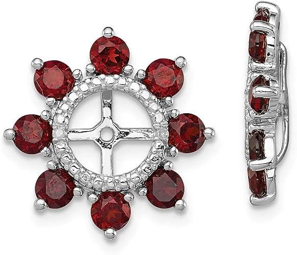 Gem Wt Sterling Silver Rhodium Plated Diamond /& Garnet Pendant 1ct
