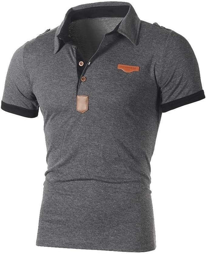 Men/'s Fashion Slim Fit Short Sleeve Polo Shirt T-shirt Casual Tops Blouse White