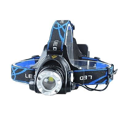 10W Phare Zoom Rechargeable Outdoor Chasse Lumières de pêche de nuit Lampe de mineur Bike Lights Couleur Noir Jaune T6 Wick 2 * 18650 Batterie
