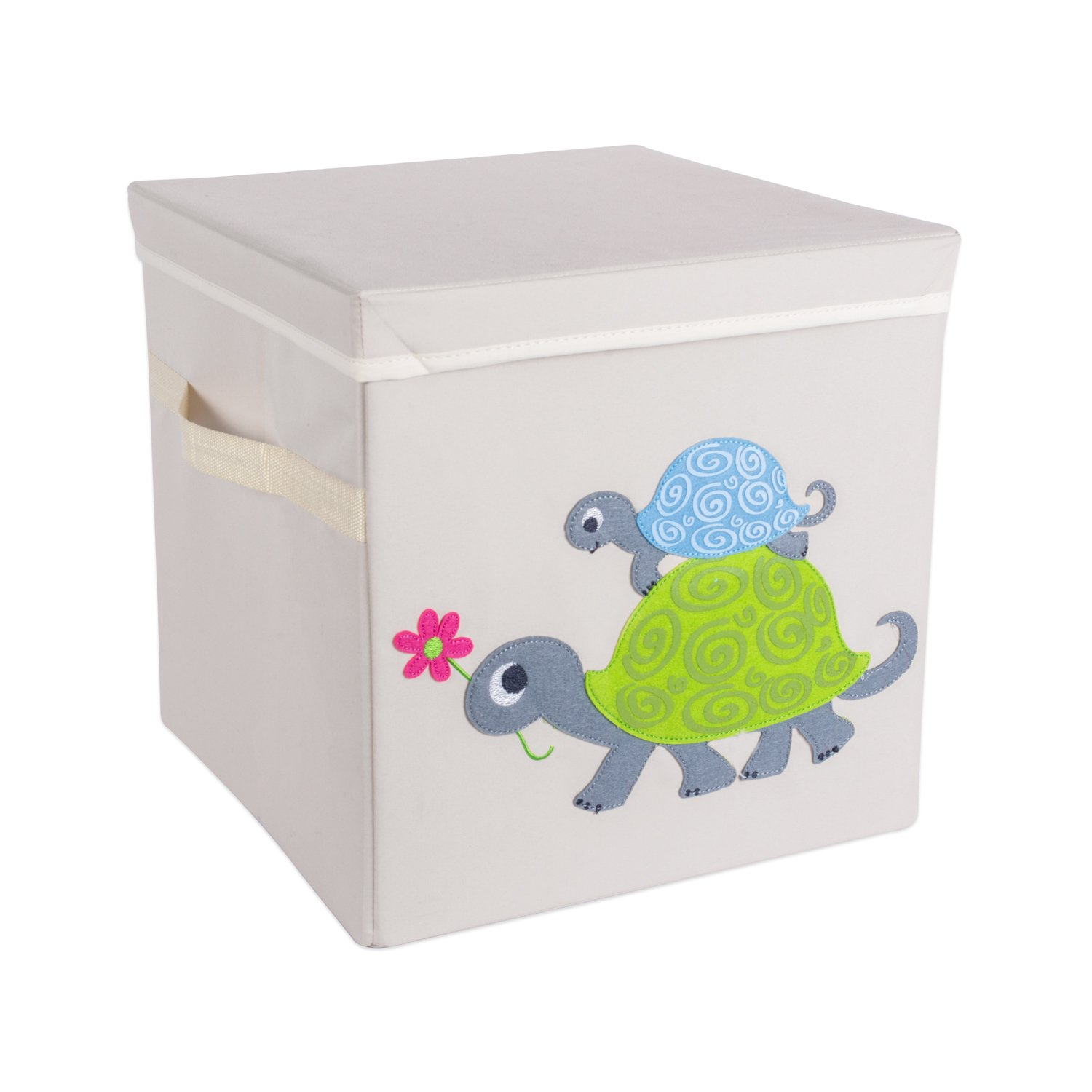 DII Nursery or Playroom Storage Bins with Lids, Made To Fit Standard Cube Organizers, use for Toys, Clothing, Blankets, Books, & More (13x13x13'') – Turtle