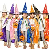 Teddy Spirit Halloween Costumes Witch Wizard Cloak with Hat for Kids Boys Girls