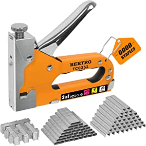 BEETRO 3-in-1 Staple Gun with 6000 Staples (D, U and T-Type), Manual Staple Gun Kit Heavy Duty Upholstery Stapler for Fixing Material, Decoration, Carpentry, Furniture, Doors and Windows