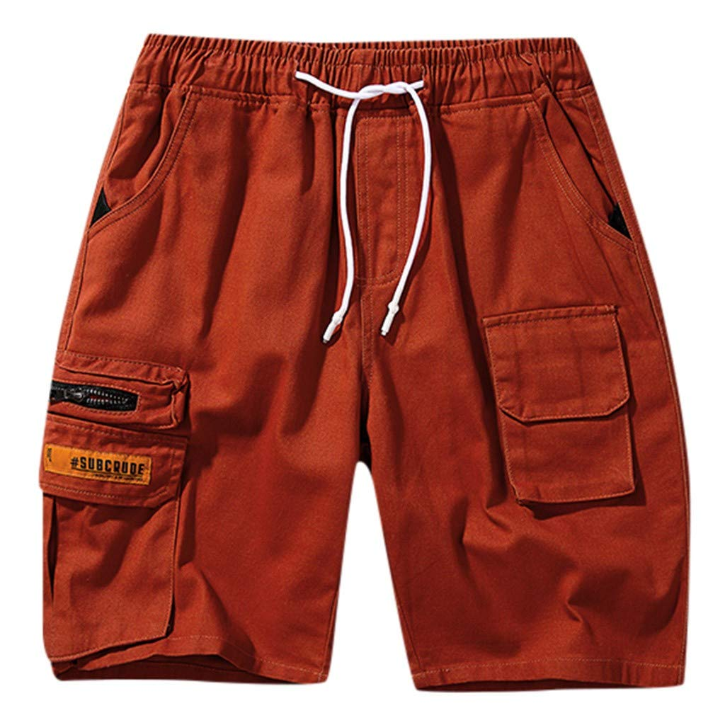 Alalaso Cargo Shorts for Men, Men's Cargo Cotton Twill Multi Pockets Relaxed Fit Outdoor Shorts Red