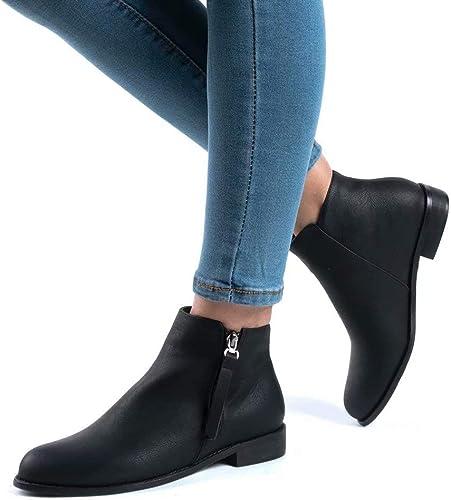 Stivaletti Donna Flat Pelle Stivali con Tacco Bassi Blocco Eleganti Zip Scarpe Moda Comode Chelsea Ankle Boots 2.5CM Nero Beige Marrone 35-43 EU