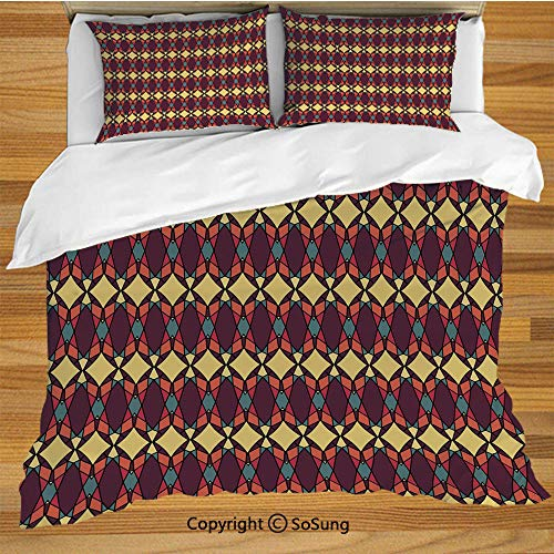 African Queen Size Bedding Duvet Cover Set,Abstract Ethnic Traditional Figures Fractal Design Antique Revival Retro Artwork Decorative Decorative 3 Piece Bedding Set with 2 Pillow ()