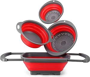 Glotoch Colander Silicone Collapsible Colander Set of 4-Includes 1pc 6 Quart Over the Sink Colander, 2pc 4 Quart and 1pc 2 Quart Round foldable colander Strainer.Dishwasher-Safe Red