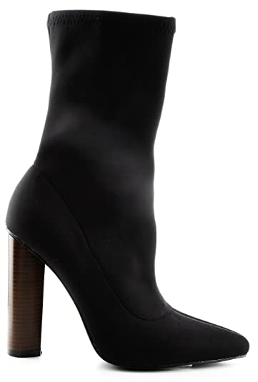ae868818d424b Cape Robbin Connie-5 Pointy Toe Lycra Elastic Pull On Ankle Bootie Block  Heel Boot