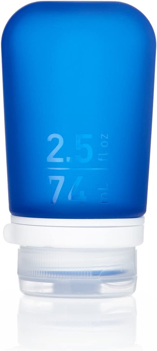 humangear GoToob+ Silicone Travel Bottle with Locking Cap, Medium (2.5oz), Dark Blue