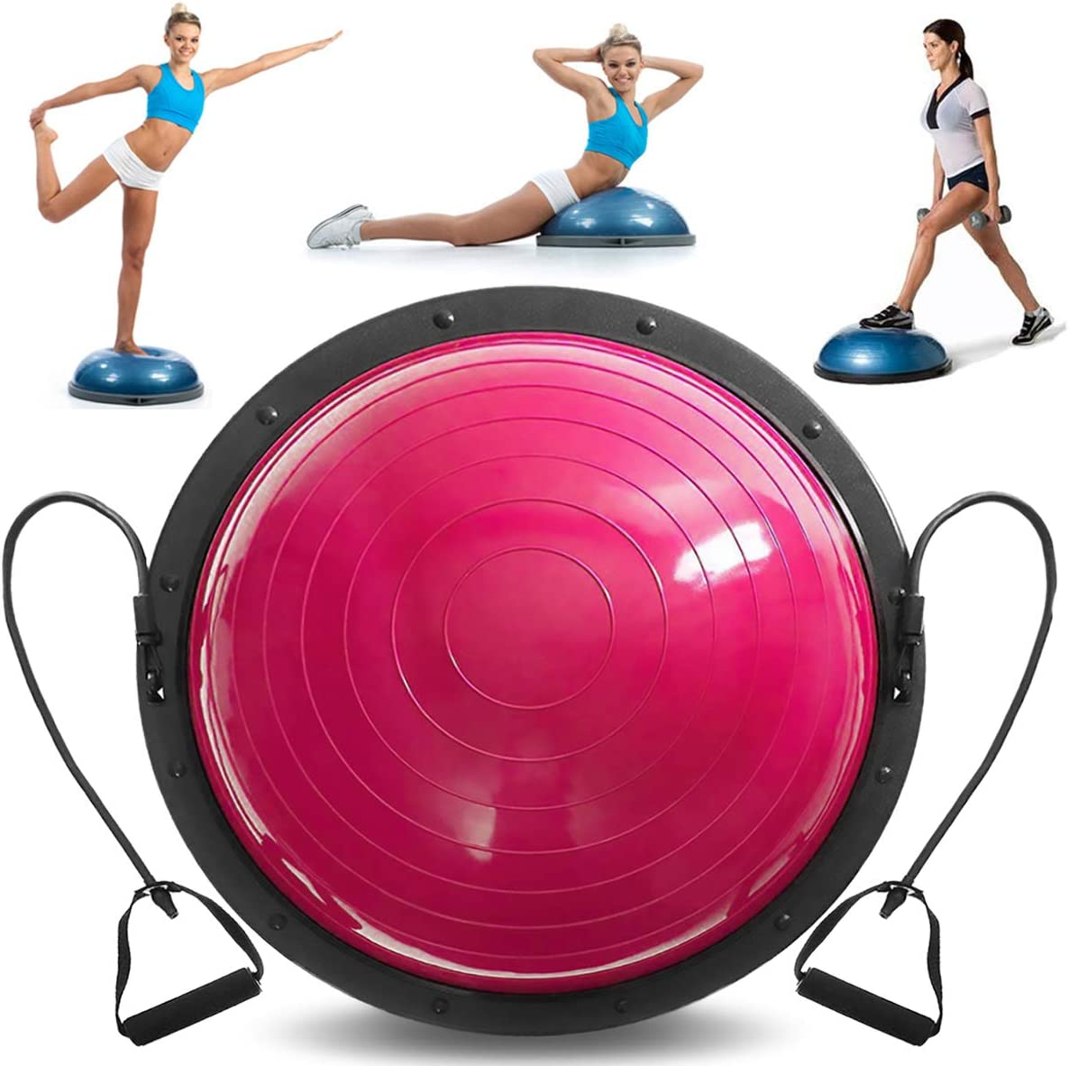 VEVOR Balance Trainer Ball 23 Inch Balance Trainer Blue Yoga Balance Ball Fitness Strength Exercise Workout with Resistance Bands and Pump Pink