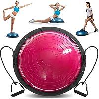 VEVOR Balón de Entrenamiento de Equilibrio DE 58,4 cm, balón de Equilibrio Azul, Yoga, Fitness, Ejercicio, Entrenamiento con Bandas de Resistencia y Bomba