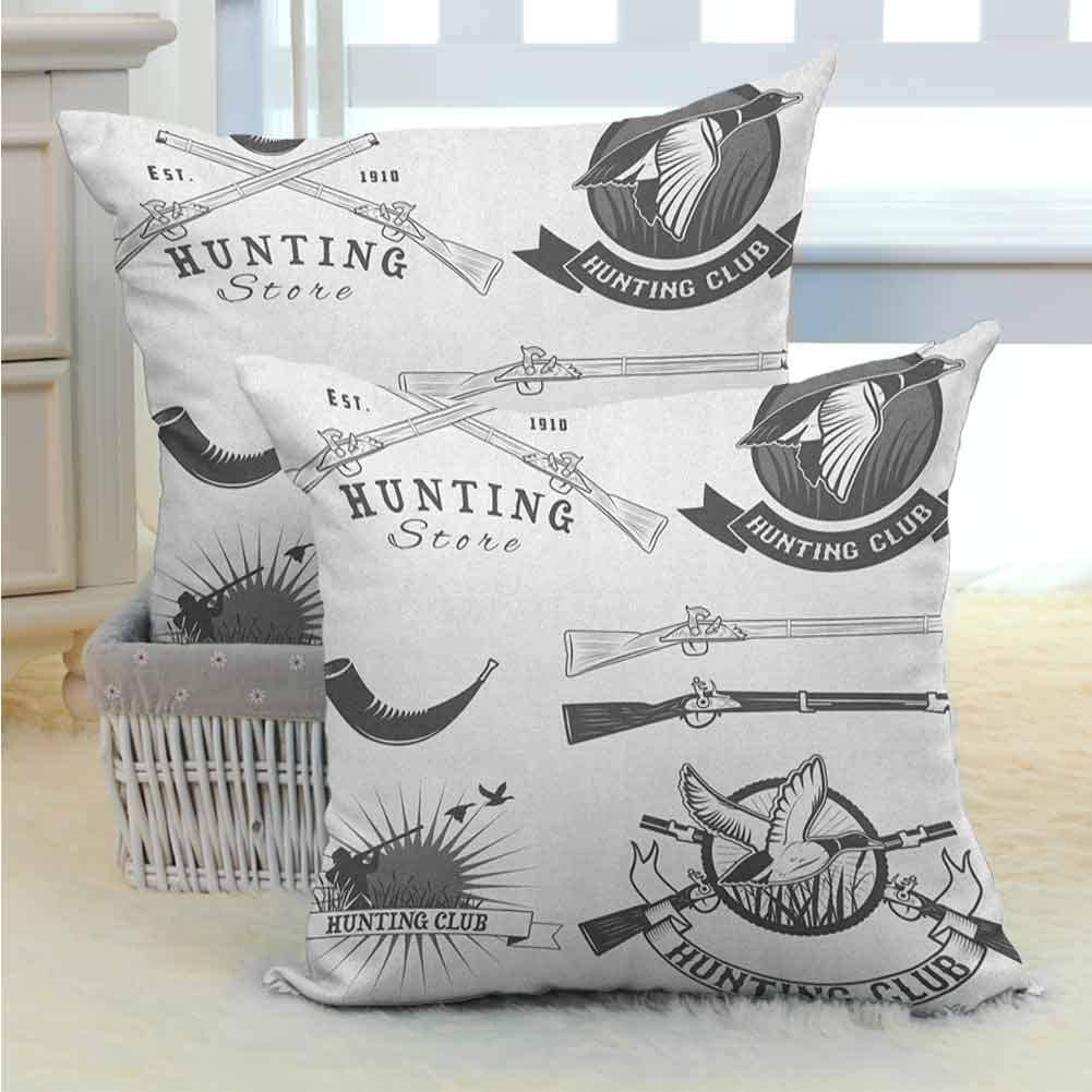 Hunting Throw Pillow Covers Hunting Store and Club Labels Duck Goose Mallard Shotgun Rifles Reed Bed Print Bedding Gift for Sofa Couch Living Room Decor 2PCS Grey White -