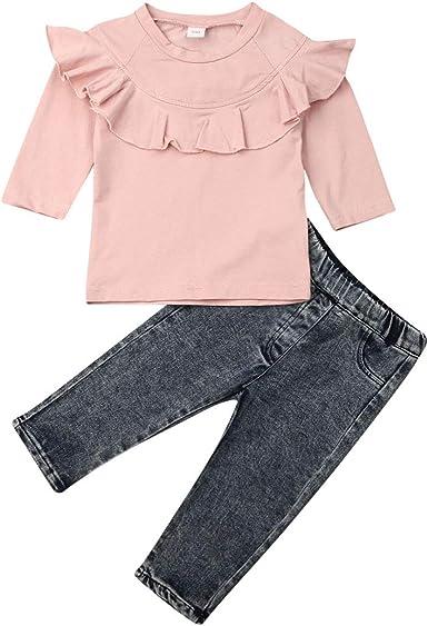Toddler Kids Baby Girl Ruffle Tops T-shirt Long Pants Outfits 2PCS Clothes