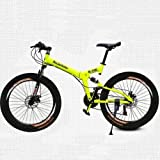 26 Inch/700CC 21 Speed Mountain Bike Folding Bike Cycling SHINING SYS Double Disc Brake Air Suspension Fork Aluminium Alloy Frame (Yellow)