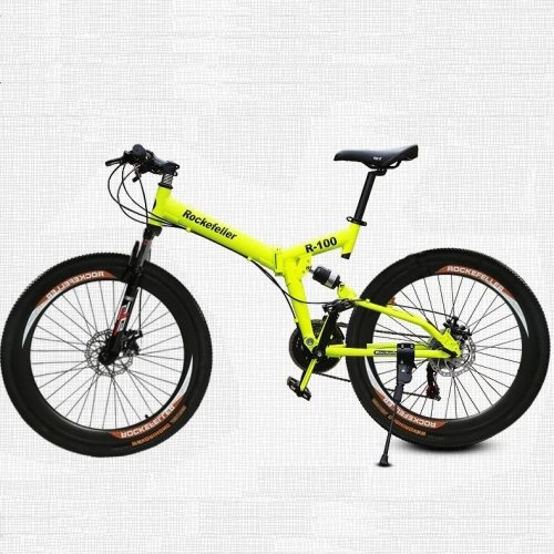 26 Inch/700CC 21 Speed Mountain Bike Folding Bike Cycling SHINING SYS Double Disc Brake Air Suspension Fork Aluminium Alloy Frame (Yellow) by LightInTheBox