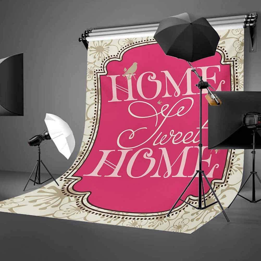 10x12 FT Photo Backdrops,Housewarming Welcoming Theme Typography Antique Frame with Flowers and Birds Background for Baby Shower Birthday Wedding Bridal Shower Party Decoration Photo Studio