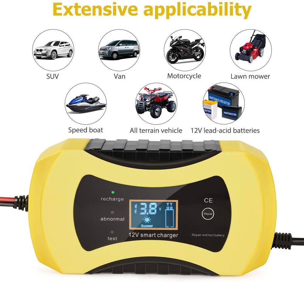 Directtyteam 12V8A Car Battery Charger Car and Motorcycle Battery Charger Reverse//Overheat//Short Circuit//Low Voltage and Overcharge Protection Black Yellow