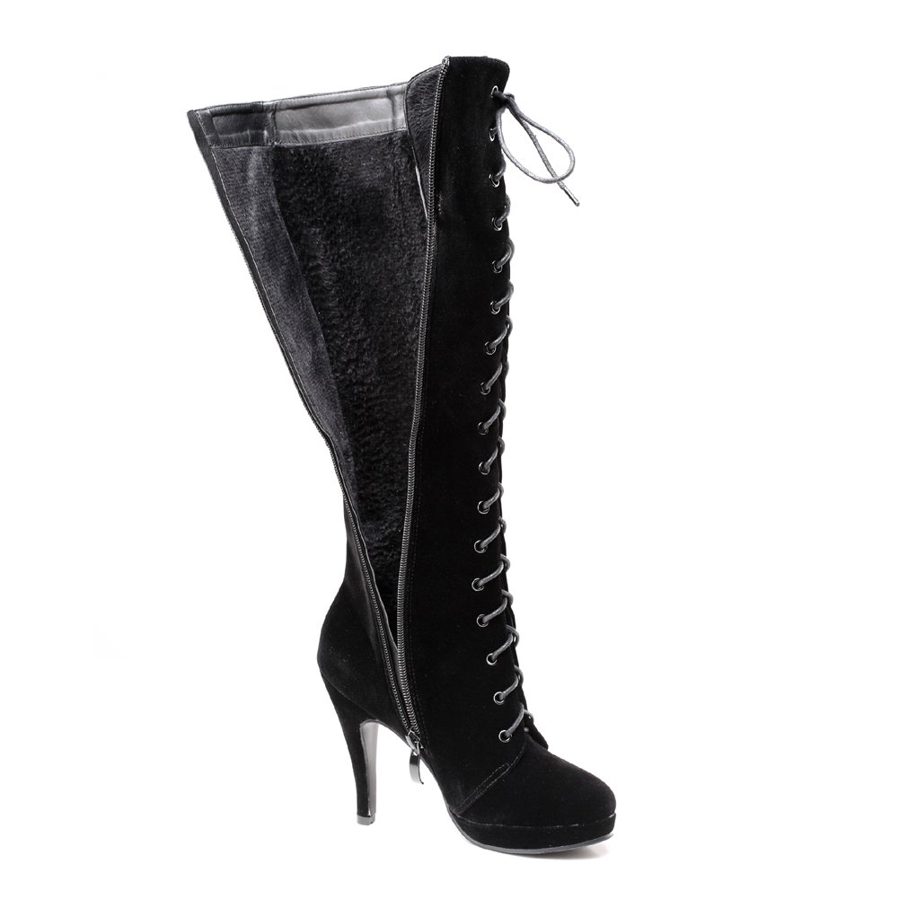 f754e0b38f Amazon.com   getmorebeauty Womens Suede Buckle Rock Lace Up Zipped Knee  High Boots High Heel Boots   Knee-High