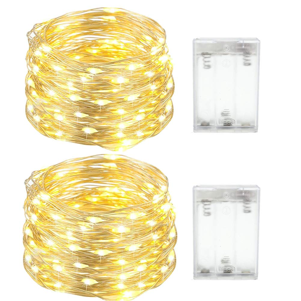 ACDE 2 Pack Cadena de Luces LED 4M 40 LED, Luces decorativas impermeables Luces LED de cobre para interior y exterior, Bedroom, Patio, Garden, Wedding, Parties (Blanco Cálido)