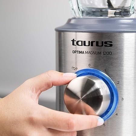 Taurus Optima Magnum Batidora de vaso, 1200 W, 1.75 litros, 0 Decibelios, Acero inoxidable