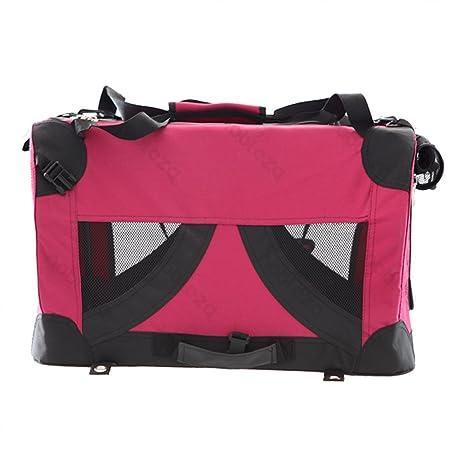 Bolso transportín para perros o gatos Nobleza, material blando de color rojo, largo 50