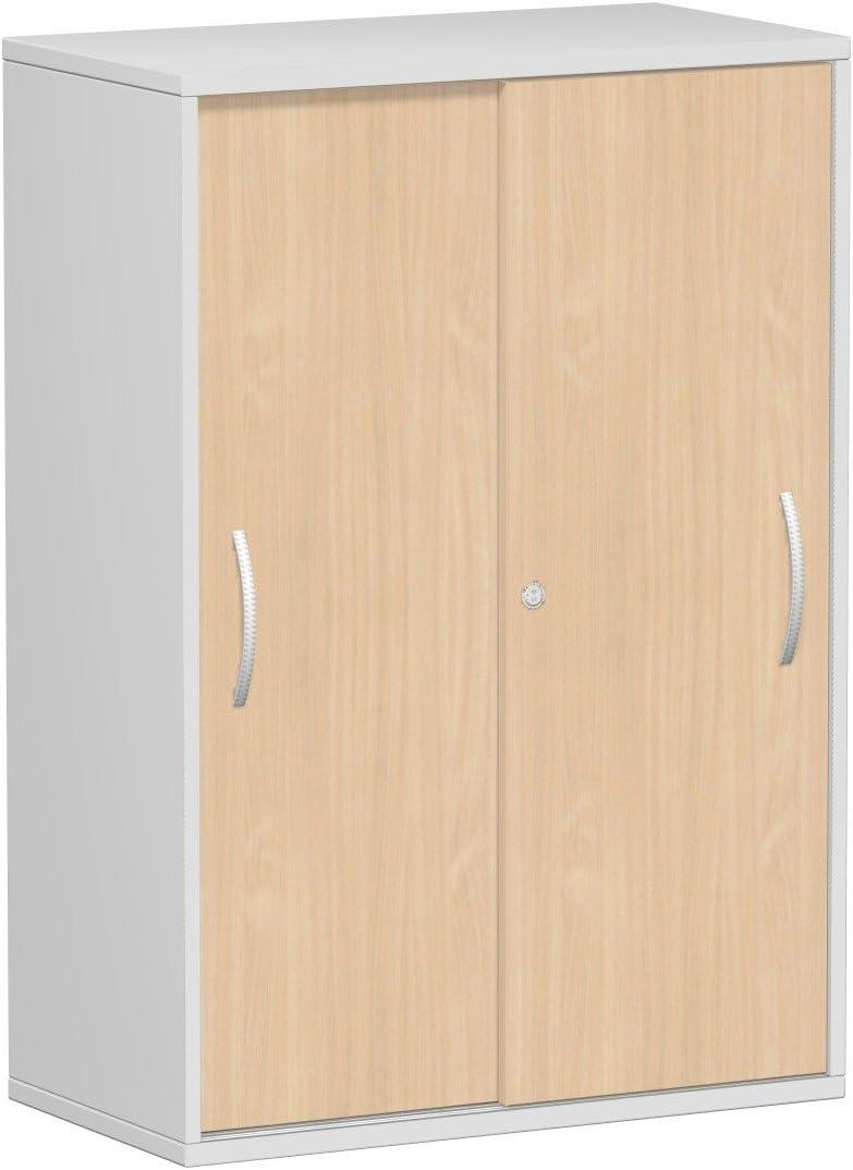 Gera M/öbel Schranksystem Flex Schiebet/ürenschrank Holzdekor 80 x 42.5 x 118.2 cm ahorn//lichtgrau