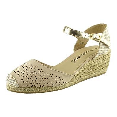 7ce3b1baf653 Kick Footwear Womens Black Wedge Heels Comfortable Slingback Summer Sandals  - UK3 EU36