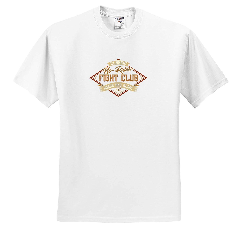 3dRose Alexis Design Classic no Rules Fight Club Imaginative Logo on White Background T-Shirts Imaginative Logos