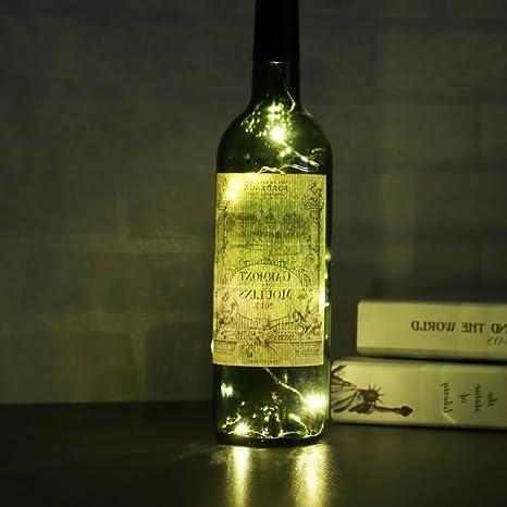 Forma del corcho de la botella luces OurLeeme Luz de Navidad energía de la batería LED luces de la secuencia para la decoración: Amazon.es: Iluminación