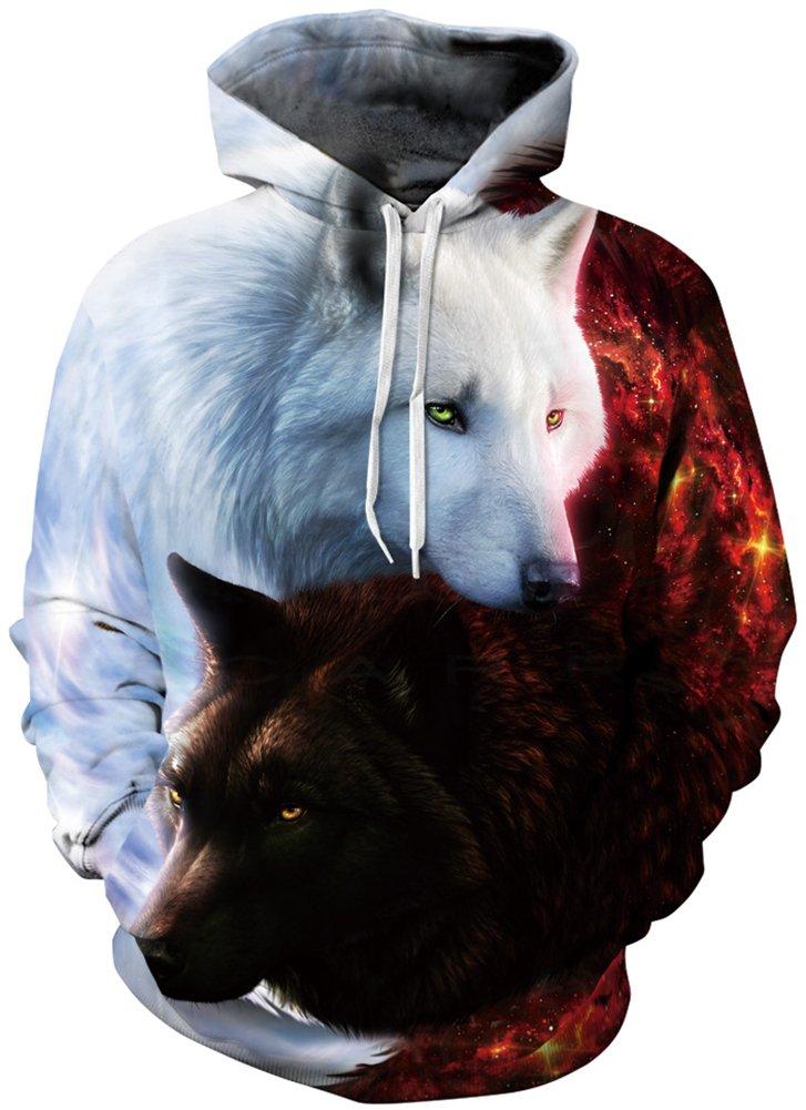 Bettydom Galaxy Unisex Cosmic Animal Print Hoodie Sweaters Sweatshirts (Large/X-Large, Two fire Wolves)