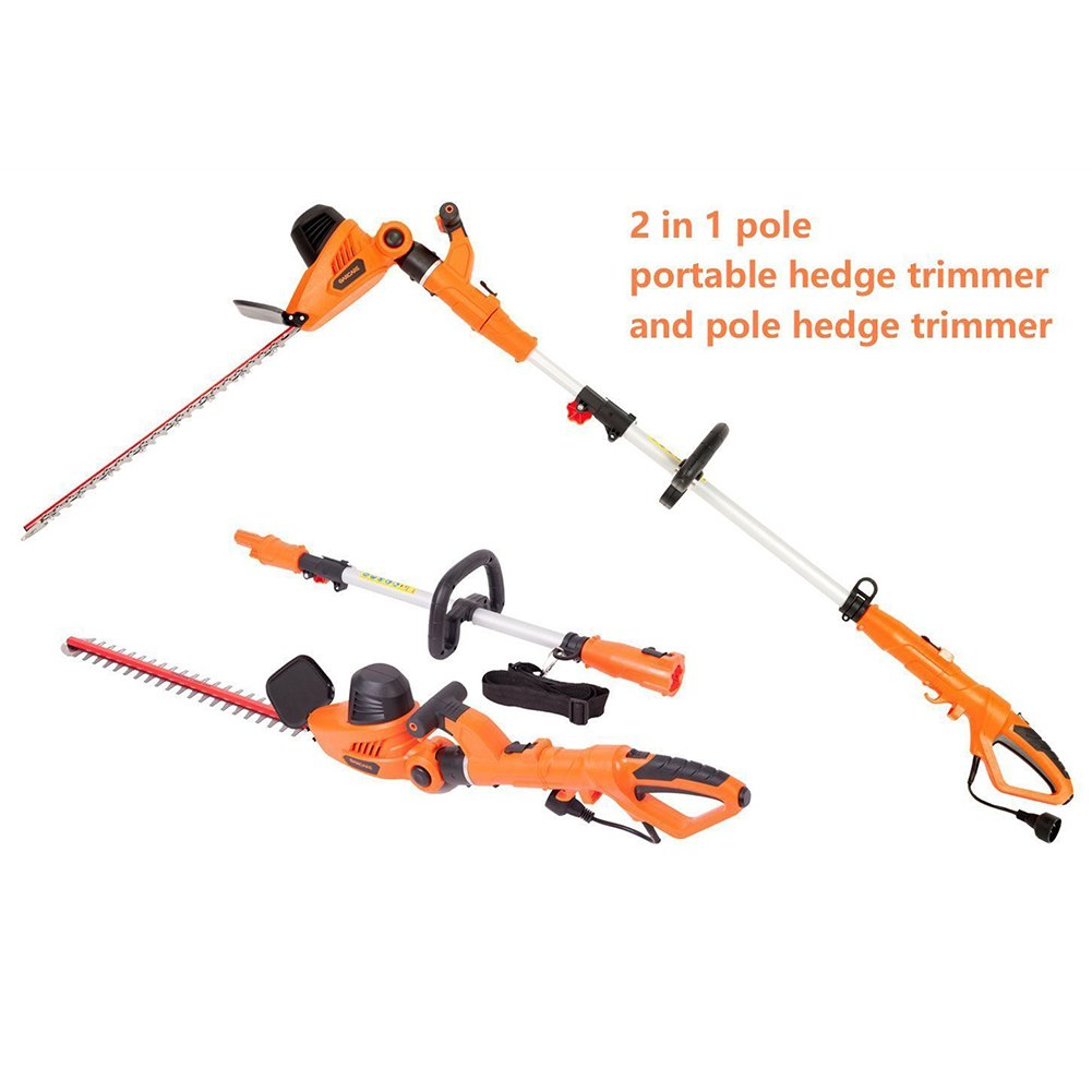 NBCYHTS Corded Electric Hedge Trimmer with 20'' Laser Blade, 4.8A Multi-Angle 2 in 1 Pole and Portable Hedge Trimmer
