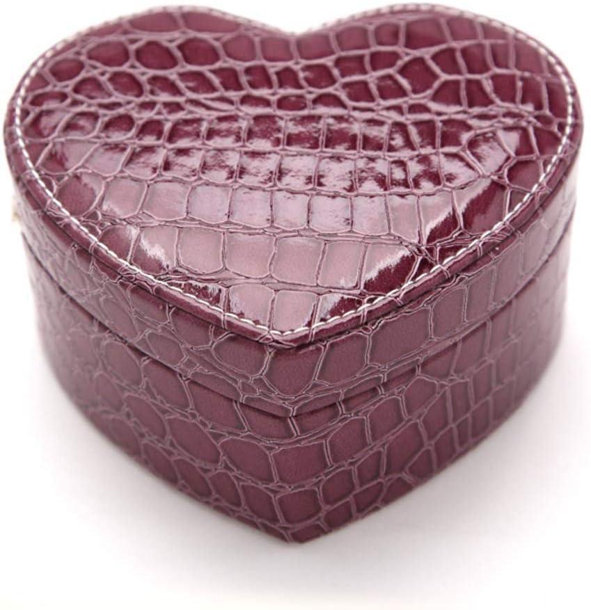 HM&DX Forma del corazón Caja joyero Organizador, 2-Capas Cuero Espejo Estuche de joyería con Compartimentos extraíbles para Anillos Aretes Collares-Morado