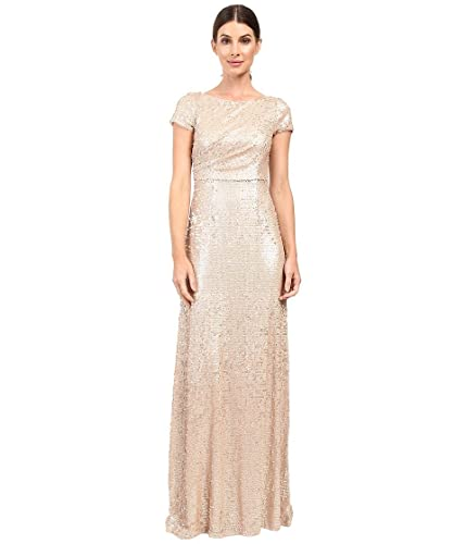 Adrianna Papell Womens Short Sleeve Sequin Long Dress