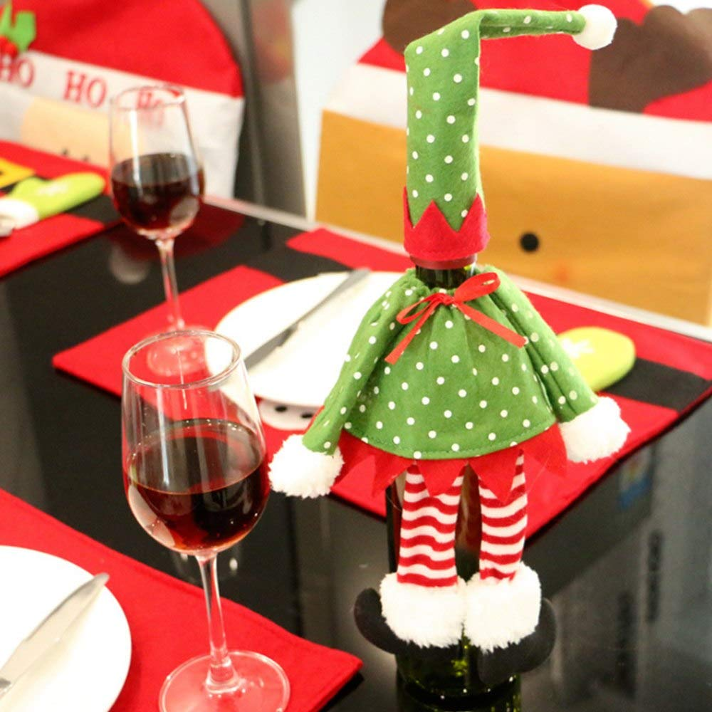 Hotel Figure Red Wine Decorations Dot/Stripe Red Wine Bottle Cover Bag Cloth Christmas Home Hotel Decoration Creative Xmas Product Supplies Wholesale P20 (Random)