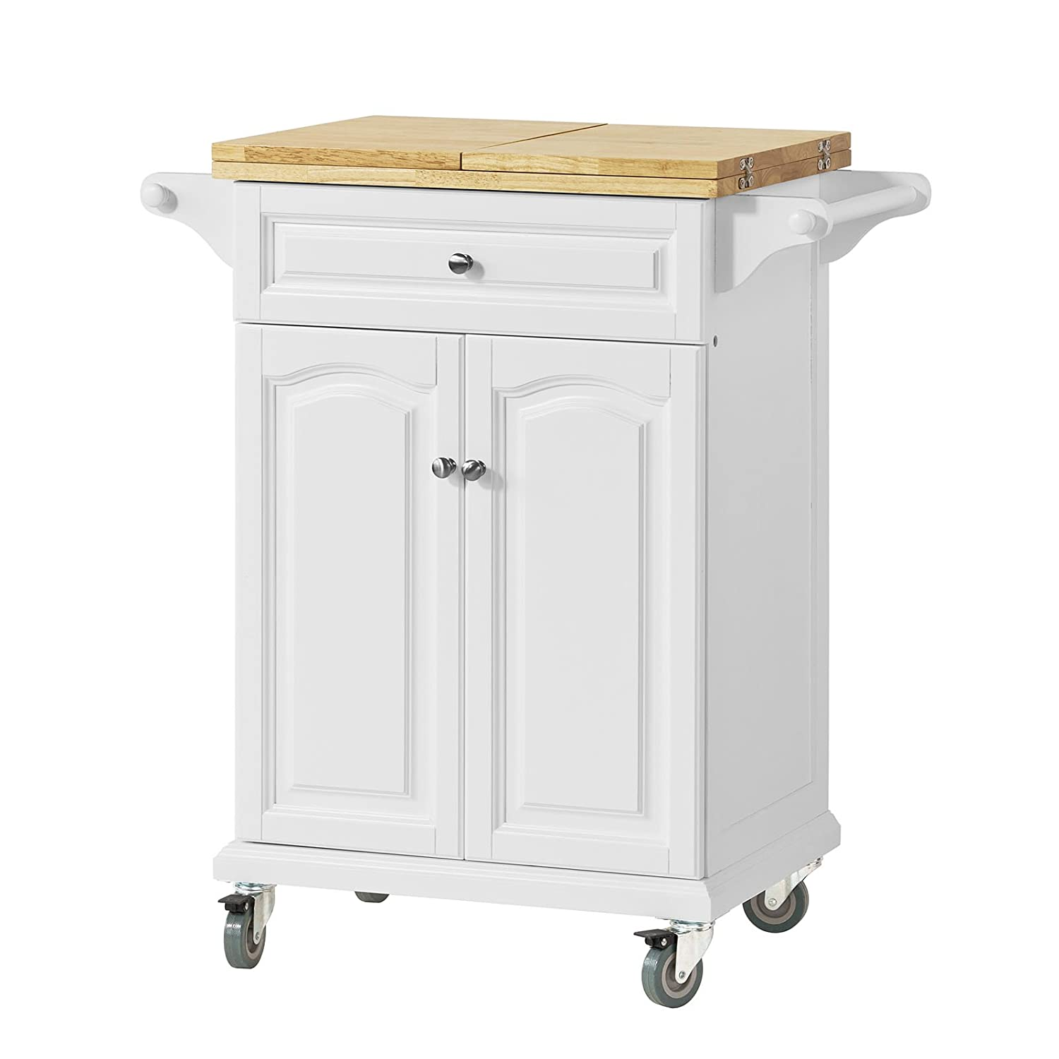 SoBuy/® Kitchen Trolley with Extendable Worktop FKW36-WN Kitchen Storage Trolley Cart with Dining//Bar Table