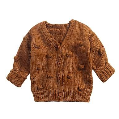 43ab38fddabd Matoen Baby Kids Girl Child Knit Cardigan Coat Sweater Top Handmade Bubble  Ball Clothing (3