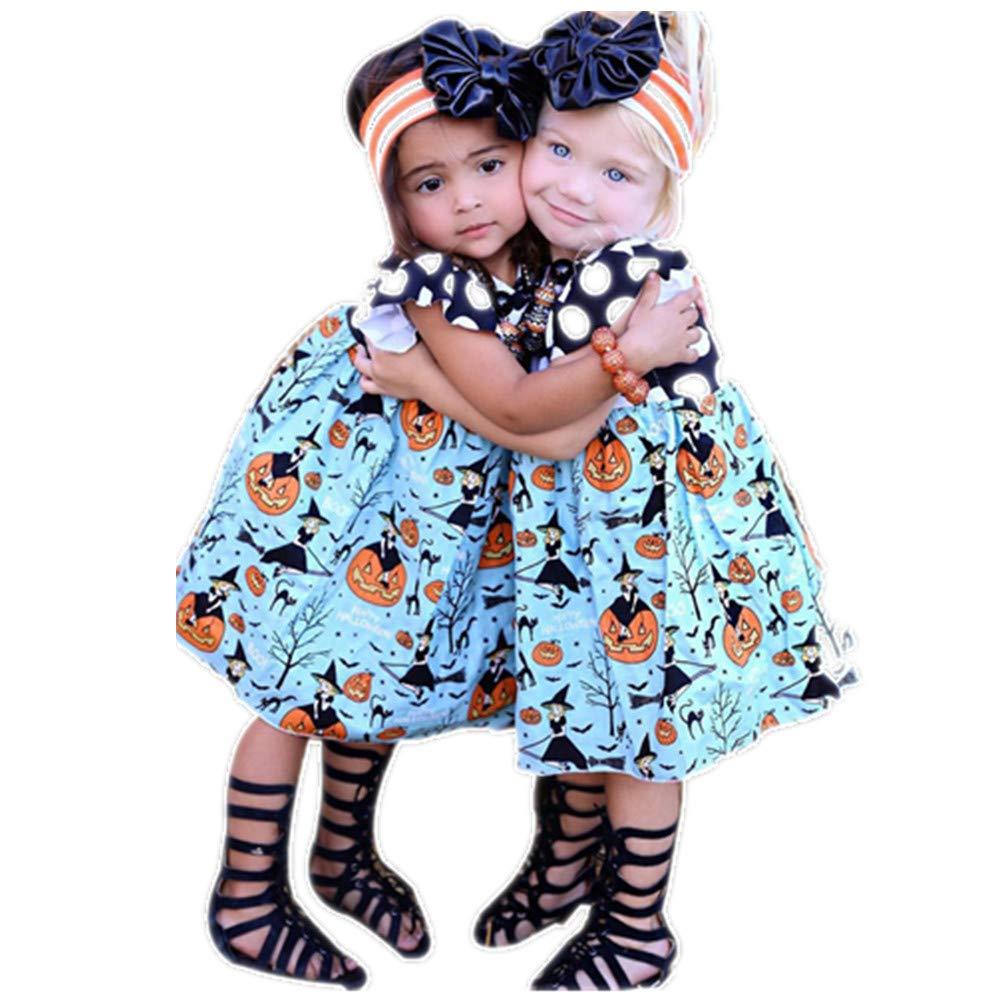 SEWORLD Baby Halloween Kleidung, Niedlich Kleinkind Kinder Baby Mädchen Halloween Kürbis Cartoon Prinzessin Kleid Outfits Kleidung