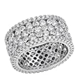 eternity wedding bands llc - 11mm Sterling Silver Fancy CZ Wedding Band Eternity Ring 5-10 (8)