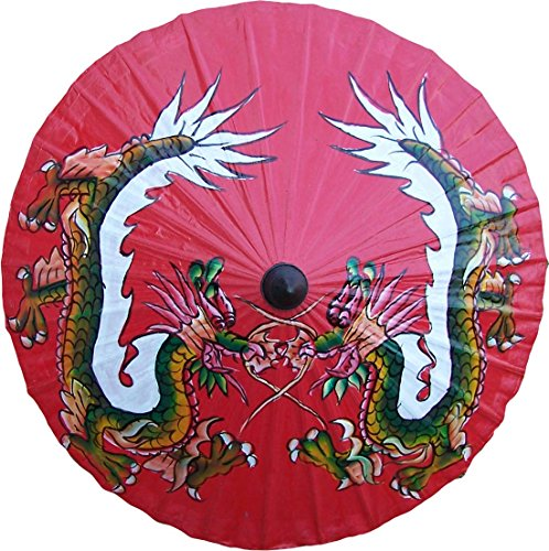 Umbrellas Painted Hand (Mirrored Dragons Hand Painted Umbrella 35 Inch)