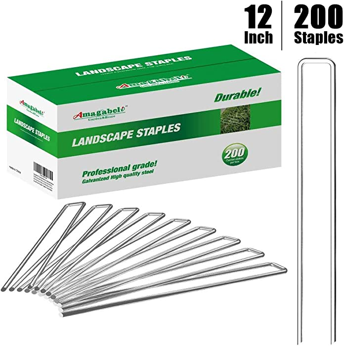 Amagabeli 12 Inch 8 Gauge Galvanized Landscape Staples 200 Pack Garden Stakes Heavy-Duty Sod Pins Anti-Rust Fence Stakes for Weed Barrier Fabric Ground Cover Dripper Irrigation Tubing Soaker