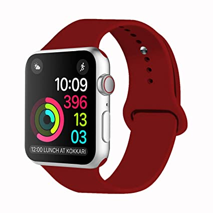 iDon Smart Watch Band, Soft Silicone Replacement Sports Band for Apple Watch Band Series 3/2/1, 38mm Apple Watch All Models (S/M,Wine Red)