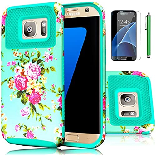 Galaxy S7 Case,EC 2-Piece Extra Slim Hybrid Dual Layer Hard Cover Case for Samsung Galaxy S7 2016 Release (Flower-Dark Green) Sales