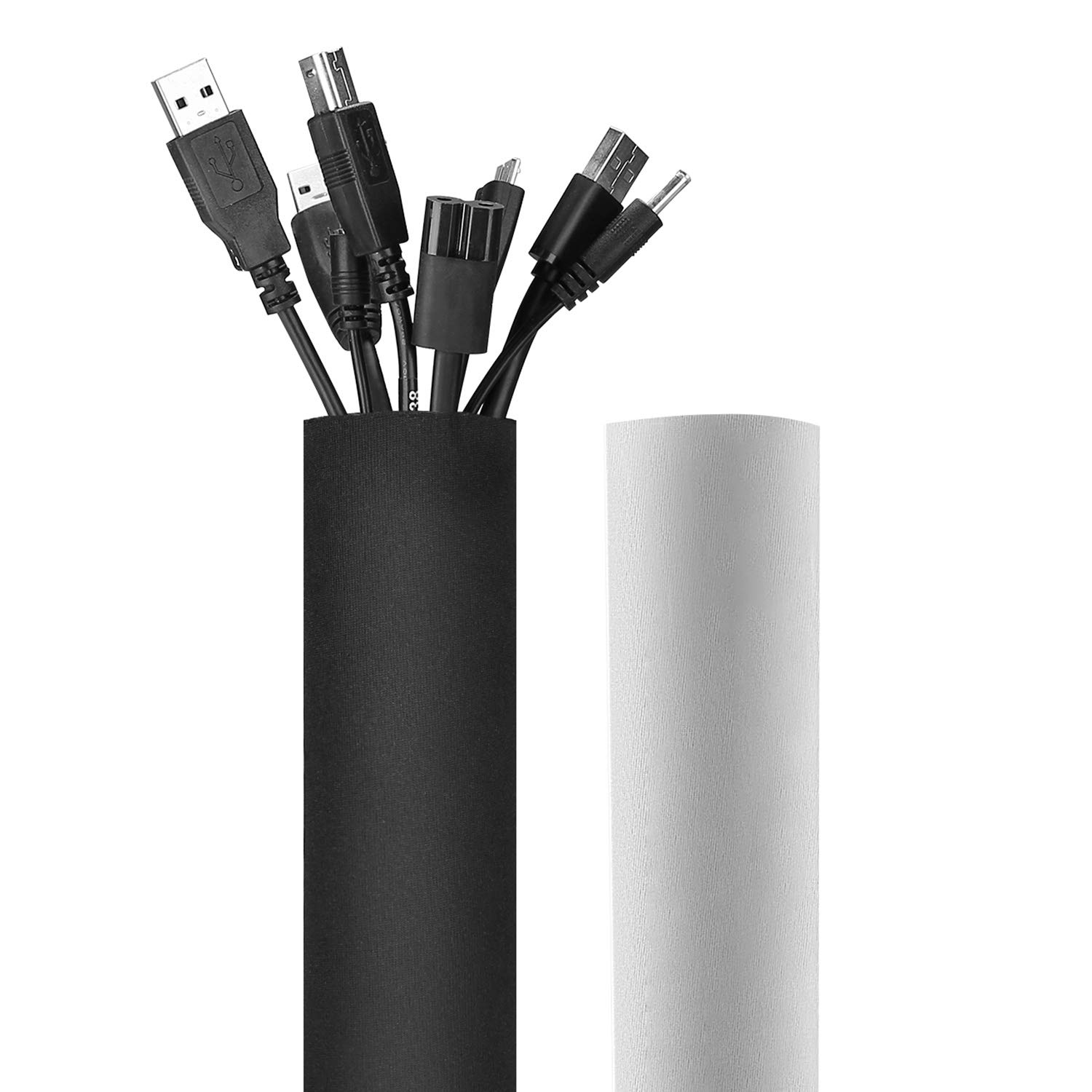 """JOTO 130"""" Cable Management Sleeve, Cuttable Neoprene Cord Management Organizer System, Flexible Cable wrap Cover Wire Hider for Desk TV Computer Office Home Theater -Reversible Black/White, Large"""