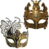 Gold / Black Flying Butterfly Women Mask & Gold Roman Warrior Men Mask