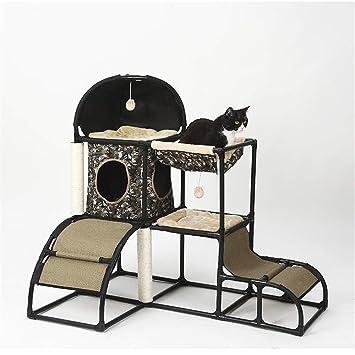Cama de perro mascota Árbol de gatos de múltiples niveles con postes de rascado cubiertos de