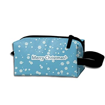 9fcc5e22b42 Amazon.com   Travel Cosmetic Bag Portable Makeup Pouch Holiday Christmas  Blue Snowflake Merry Pencil Holders   Beauty